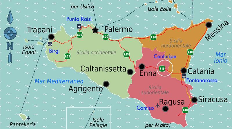 Mappa turistica della Sicilia con aeroporti