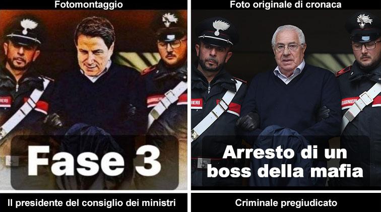 fotomontaggio di Conte arrestato