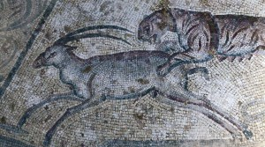 Mosaico nelle rovine della villa romana Lilibeo (Parco archeologico Lilibeo-Marsala)