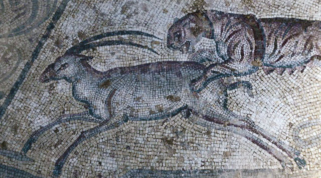Mosaico nelle rovine della villa romana Lilibeo