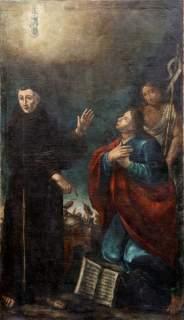 La «Madonna e santi» di Giuseppe Tinti dalla chiesa di San Pietro a Cento è l'immagine guida della mostra: sullo sfondo è ben visibile la scena di un terremoto