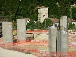 Il cantiere presso l'Abbazia dei SS. Quirico e Giulitta
