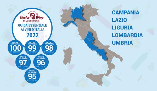 I faccini del Doctor Wine per la Guida Essenziale ai Vini d'Italia 2022 per le regioni Campania, Lazio, Liguria, Lombardia e Umbria