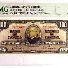 Buy Canada 100 Dollars 1937