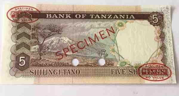 Tanzania 5 Shillingi 1966 Specimen1