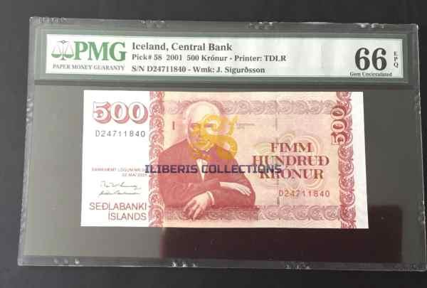 Iceland 500 Kronur 2001