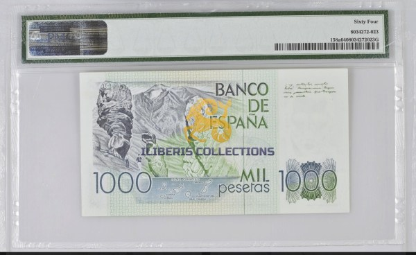 Spain 1000 Pesetas 1979. PMG 64. back