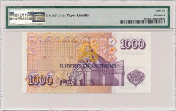 Iceland 1000 Kronur 2001 back