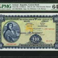 Ireland 10 Pounds 1975. PMG 64