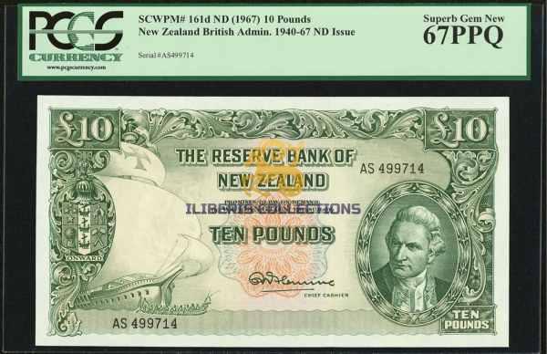 New Zealand 10 Pounds 1940-67.
