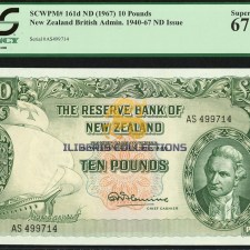 New Zealand 10 Pounds 1940-67.