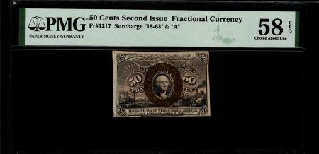 USA 50 Cents Second Issue 1863. Fractional Currency. PMG 58 EPQ.