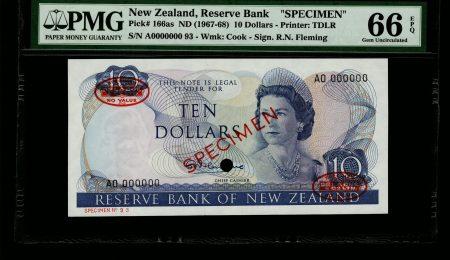 New Zealand 10 Dollars 1967 Specimen. PMG 66 EPQ.
