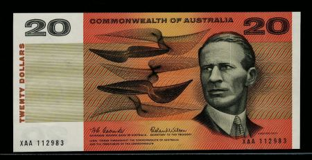 Australia 20 Dollars 1966 First Signature & Prefix. Uncirculated.