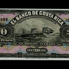 Costa Rica 20 Pesos 1899 Uncirculated.