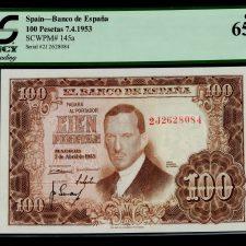 Spain 100 Pesetas 1953 . PCGS 65 PPQ.
