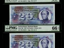Switzerland 20 Franken 1970 (Pick 46r) Consecutive Pair. PMG 66 EPQ