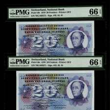 Switzerland 20 Franken 1970 (Pick 46r) Consecutive Pair. PMG 66 EPQ