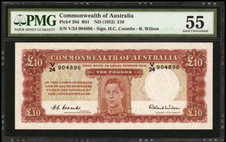 Australia 10 Pounds 1952. R61L, pareja correlativa. PMG 64/55