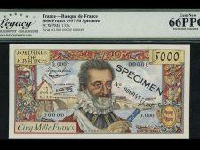 France 5000 Francs 1957 Specimen. LGC 66 PPQ.