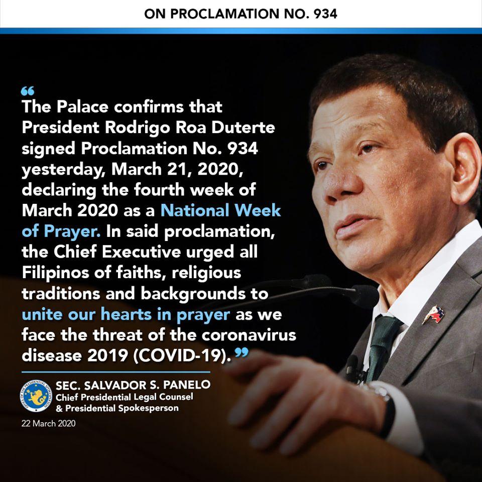 Proclamation No. 934