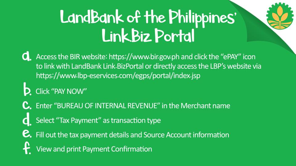 how to pay bir taxes online - landbank