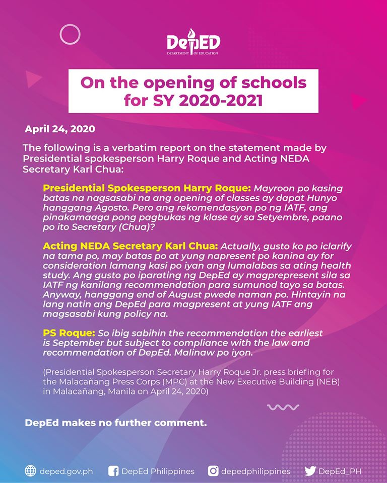 On the opening of schools for SY 2020-2021