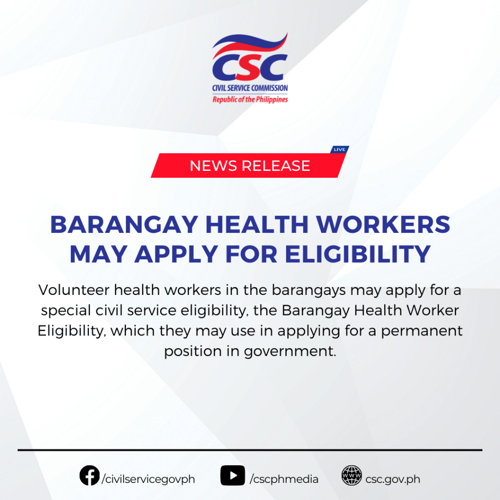 Barangay Health Workers May Apply for Eligibility