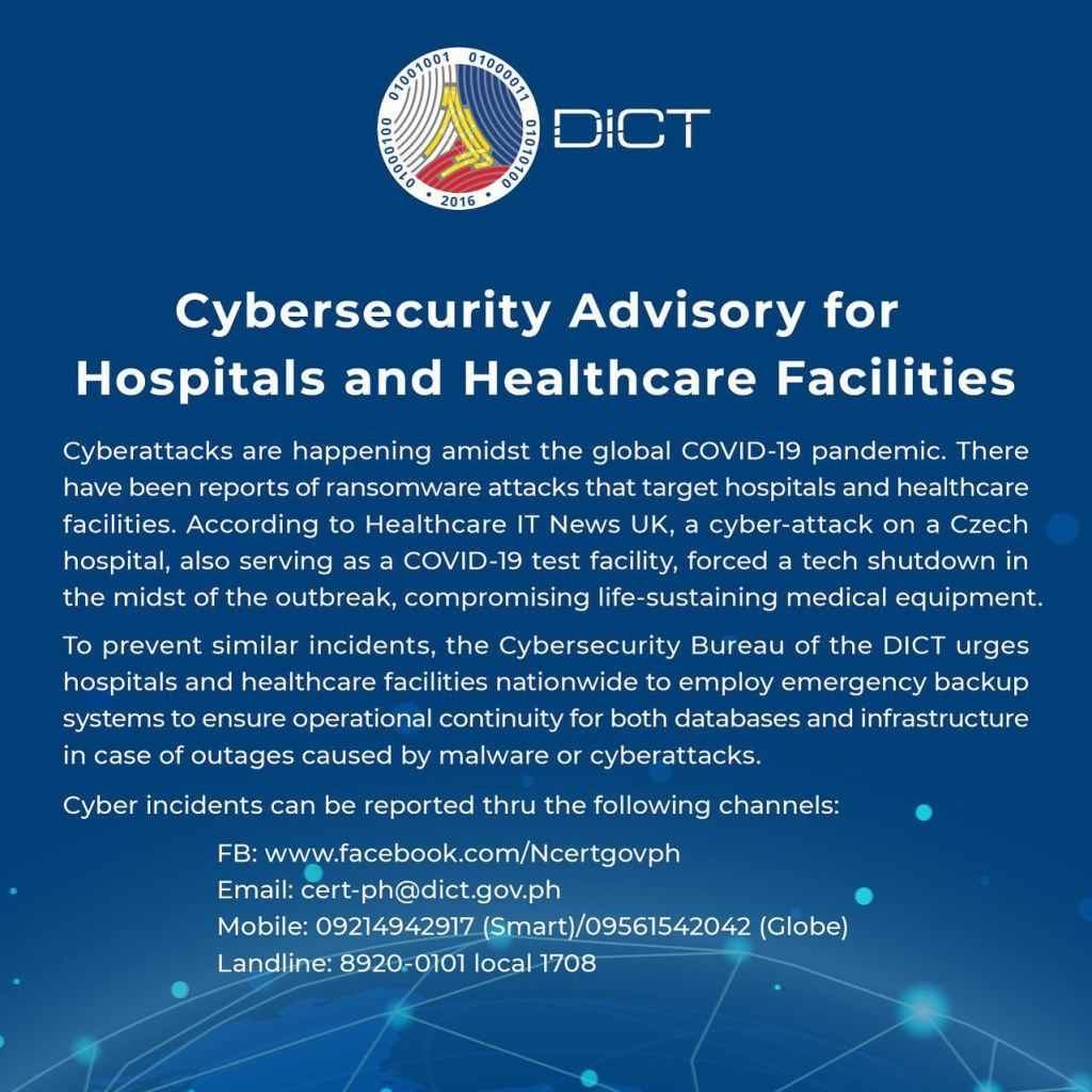 Cybersecurity advisory on Hospitals and Healthcare Facilities