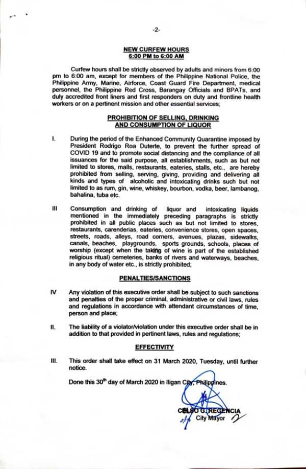 Iligan City New Curfew Hours