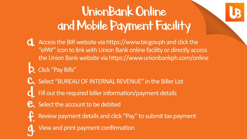 how to pay bir taxes online - unionbank