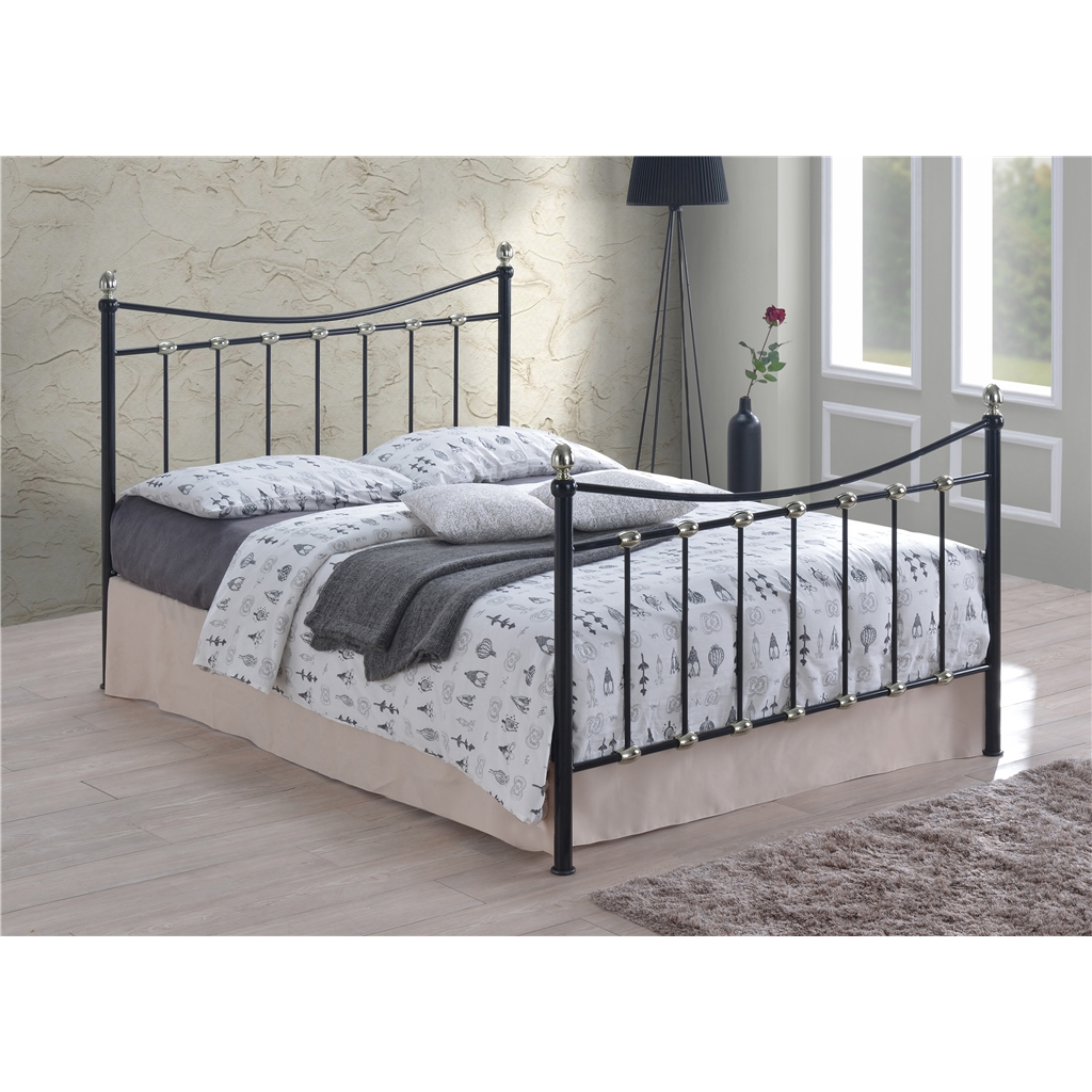 Black Amp Silver Chrome Metal Bed Frame