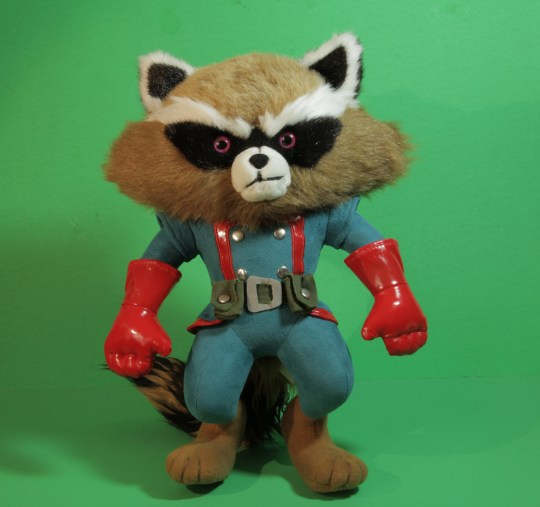 Rocket Raccoon Plush by Just Play, with limited-edition Skottie Young Lithograph Marvel booth (#1354)