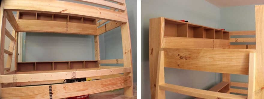 Mount the shelves with screws into the foot and head boards, and finishing brads into the side rail.