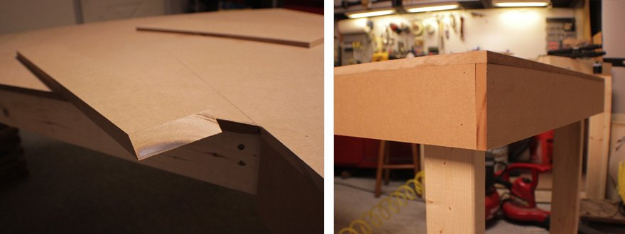 Shaving the backside of the angled piece helps a lot with making it fit (when things aren't perfectly square.)