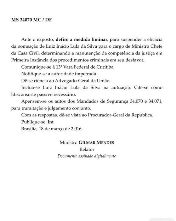 Decisão de Gilmar Mendes que suspende nomeação de Lula