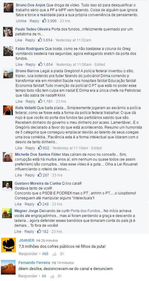 Comentários nas redes sociais sobre o vídeo do Porta dos Fundos