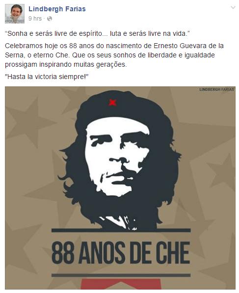 Post de Lindbergh no Facebook em que apoia o assassino homofóbico e racista Che Guevara