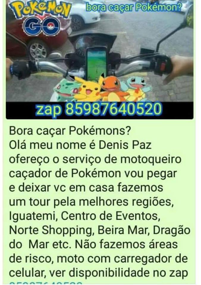 O motoqueiro caçador de Pokémon está fazendo sucesso em Fortaleza-CE
