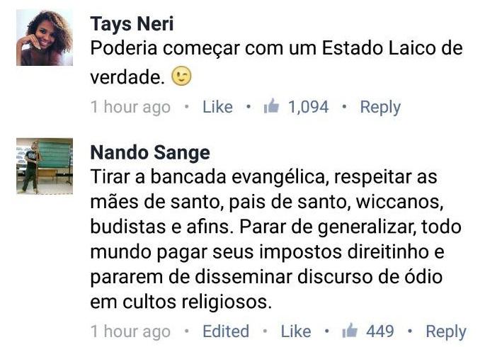 """Estudante da UFBA e tenor do Coral de Música do Guarujá mostram a """"tolerância"""" religiosa da esquerda"""