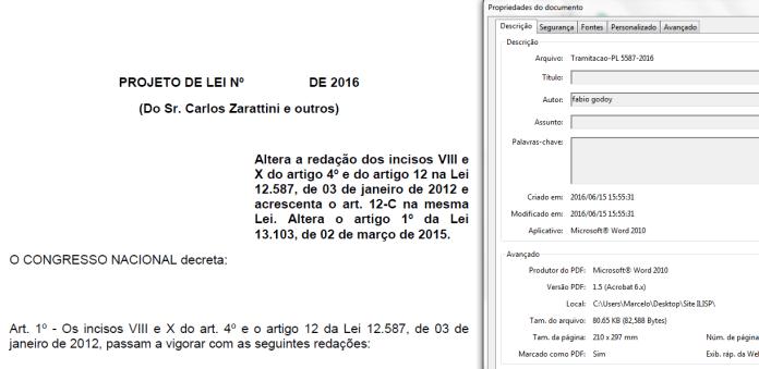 Propriedades do documento PDF do projeto original mostram que ele foi redigido por Fábio Godoy, então presidente do Sindicato de Taxistas de São Paulo