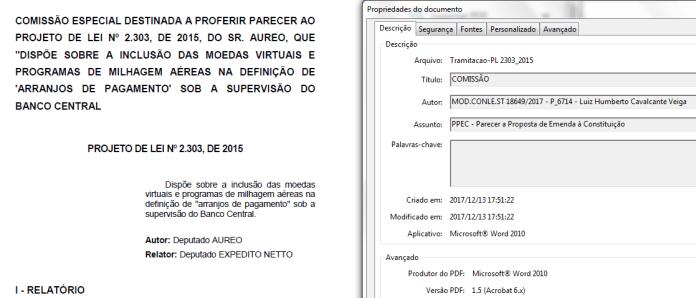 Propriedades do arquivo PDF do parecer mostram que ele foi redigido por Luiz Humberto Cavalcante Veiga, ex-funcionário do Banco Central