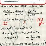 Trigonometri de homojen bir denklemin çözüm kümesi