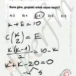 Kızlardan seçilen 2 kişilik grup kendine edilir denklem oluşturulur. Kombinasyon