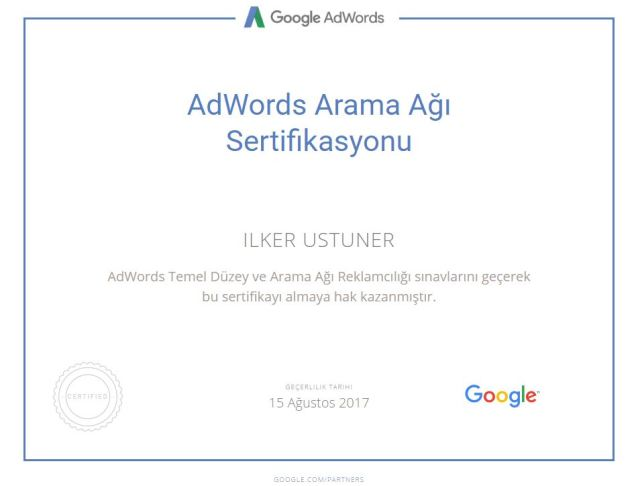 Google Adwords sertifikası