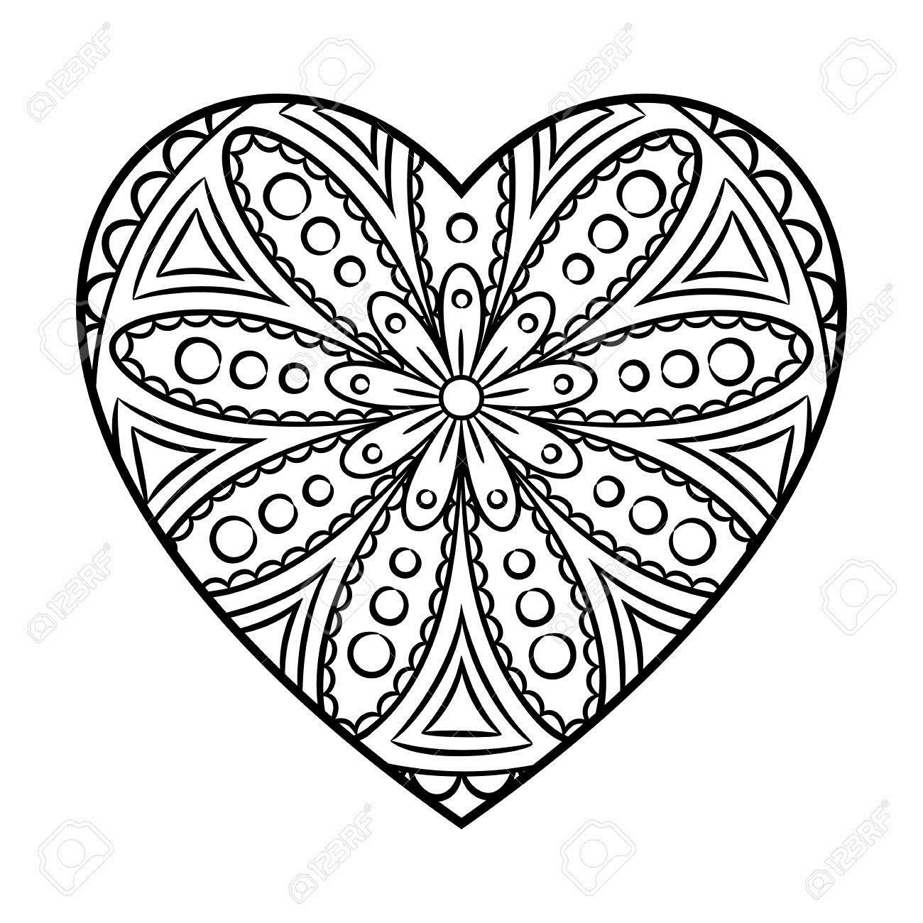 Print Heart Outs Coloring Mandala