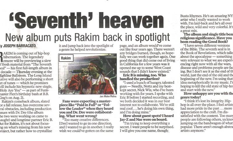 Rakim Featured In NY Post