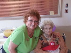 IAW member Diana Ropp with founding IAW and AAW  member Jean Ibendahl on her 97th birthday on June 10, 2015.  Jean started the concept of Ag in the Classroom.
