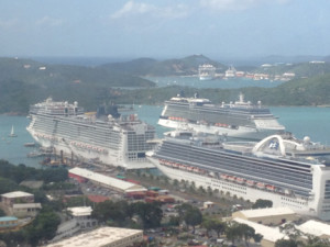View from the Sky Lift over St. Thomas Virgin Islands cruise ships
