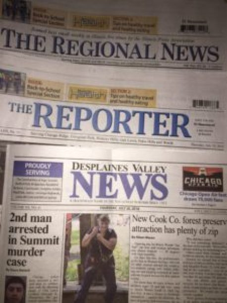 The Reporter Newspapers, the Regional Newspapers, the Des Plaines Valley News, and the Southwest News Herald.